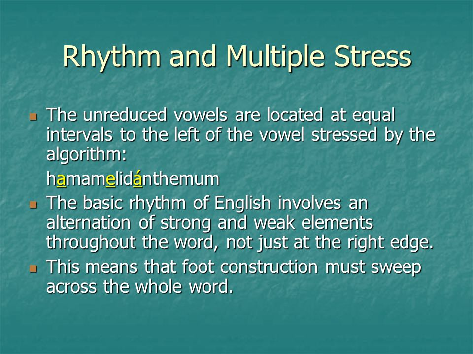 Rhythm and Multiple Stress