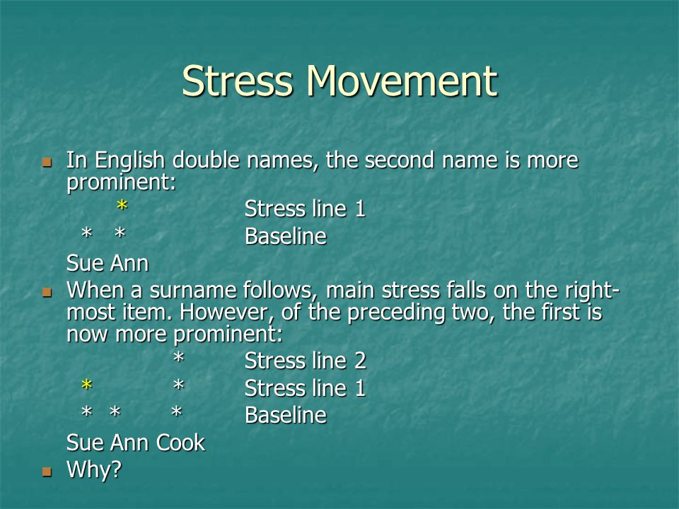 Stress Movement In English double names, the second name is more prominent: * Stress line 1. * * Baseline.