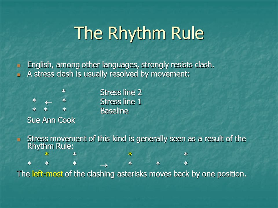 The Rhythm Rule English, among other languages, strongly resists clash. A stress clash is usually resolved by movement: