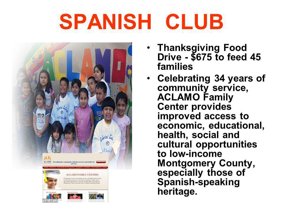 SPANISH CLUB Thanksgiving Food Drive - $675 to feed 45 families
