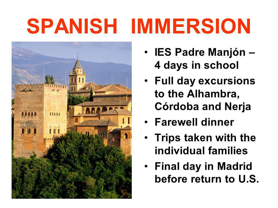 SPANISH IMMERSION IES Padre Manjón – 4 days in school