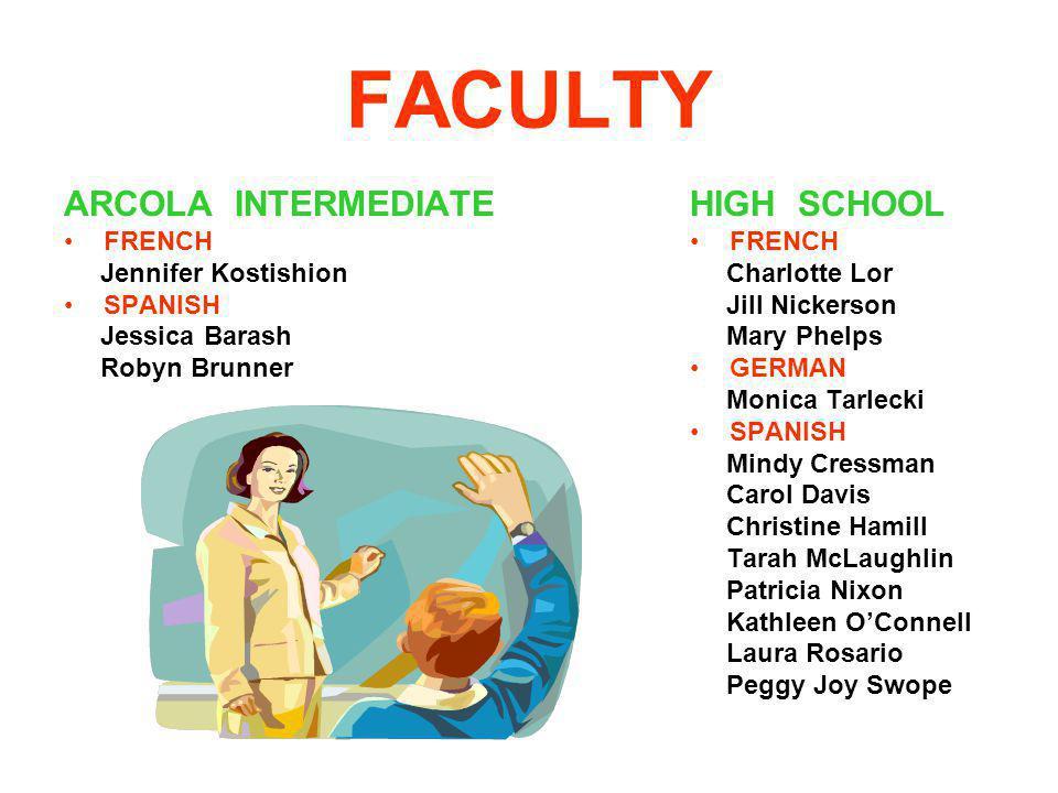 FACULTY ARCOLA INTERMEDIATE HIGH SCHOOL FRENCH Jennifer Kostishion