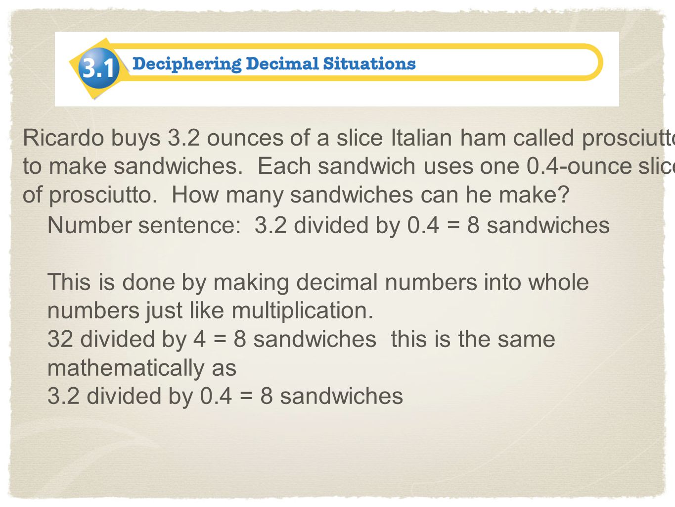 Ricardo buys 3.2 ounces of a slice Italian ham called prosciutto to make sandwiches. Each sandwich uses one 0.4-ounce slice of prosciutto. How many sandwiches can he make