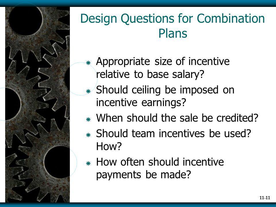 Design Questions for Combination Plans