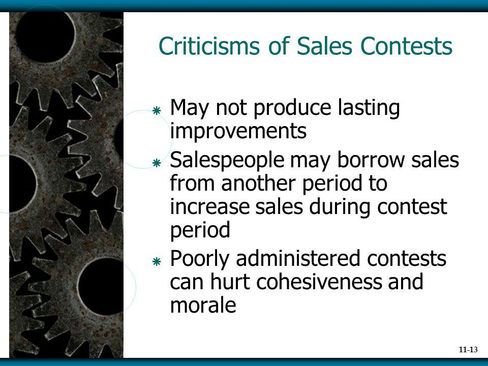 Criticisms of Sales Contests