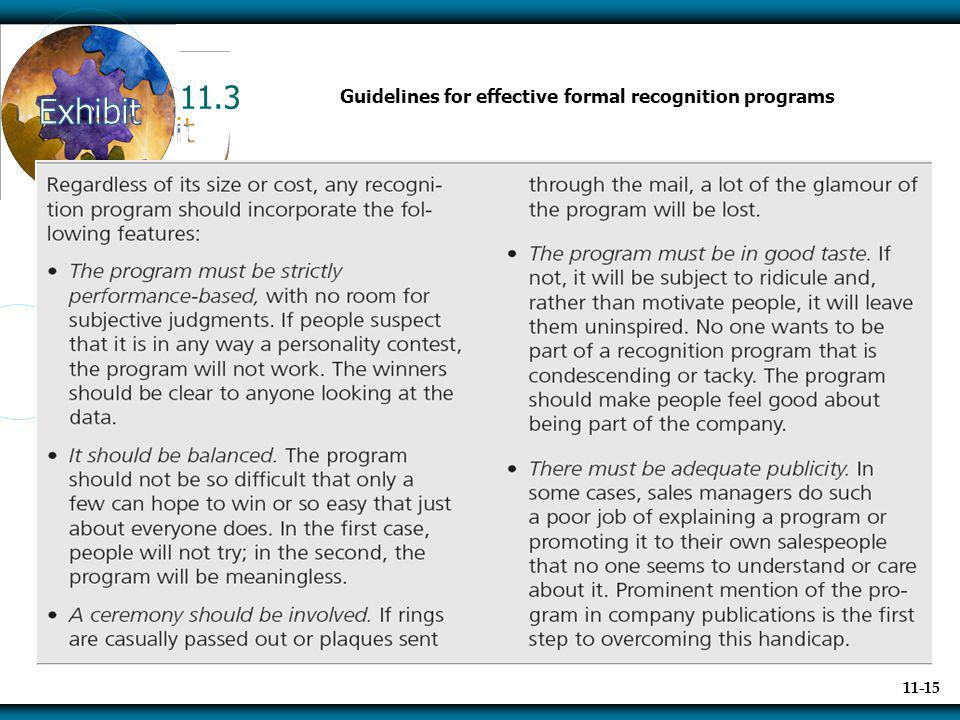 11.3 Guidelines for effective formal recognition programs