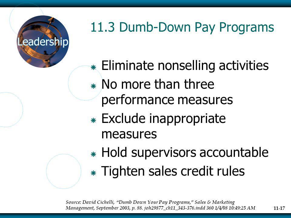 11.3 Dumb-Down Pay Programs