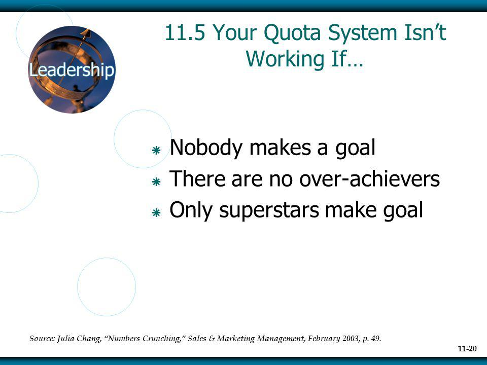 11.5 Your Quota System Isn't Working If…