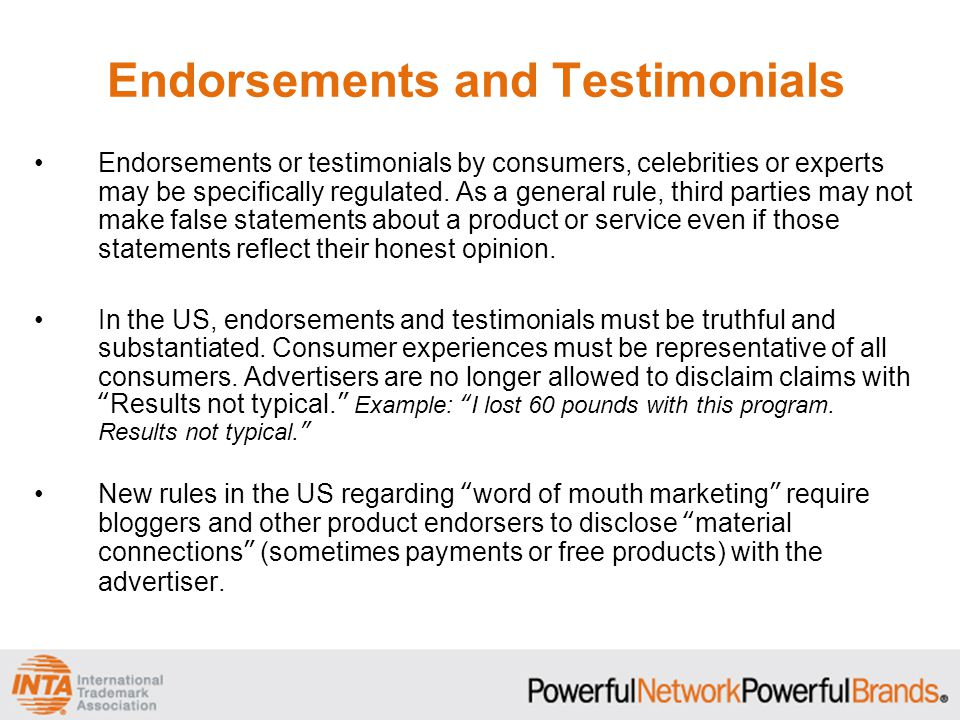 Endorsements and Testimonials