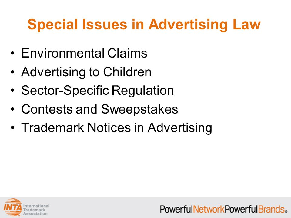 Special Issues in Advertising Law