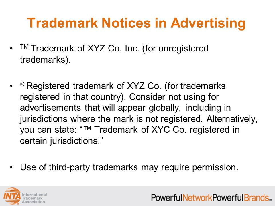 Trademark Notices in Advertising