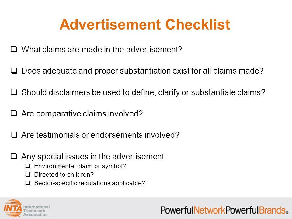 Advertisement Checklist