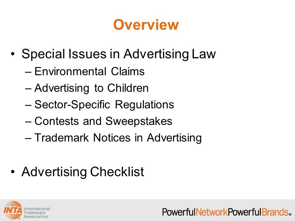 Overview Special Issues in Advertising Law Advertising Checklist