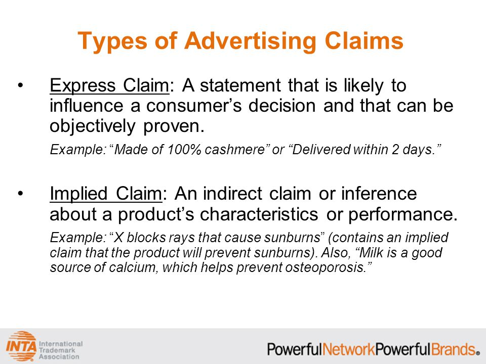 Types of Advertising Claims