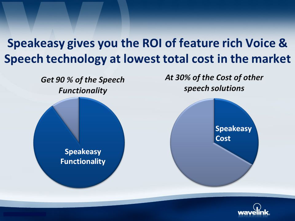 Speakeasy gives you the ROI of feature rich Voice & Speech technology at lowest total cost in the market