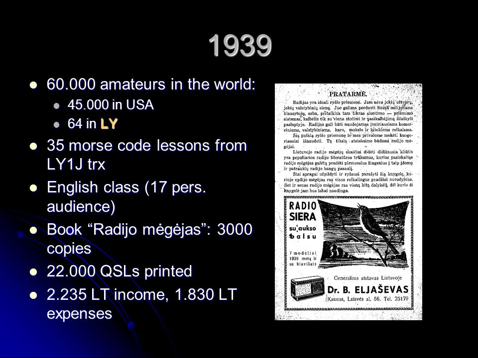 1939 60.000 amateurs in the world: 35 morse code lessons from LY1J trx