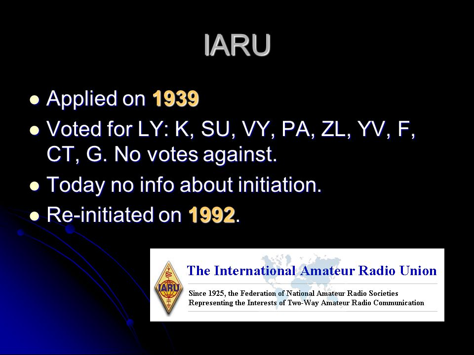 IARU Applied on 1939. Voted for LY: K, SU, VY, PA, ZL, YV, F, CT, G. No votes against. Today no info about initiation.