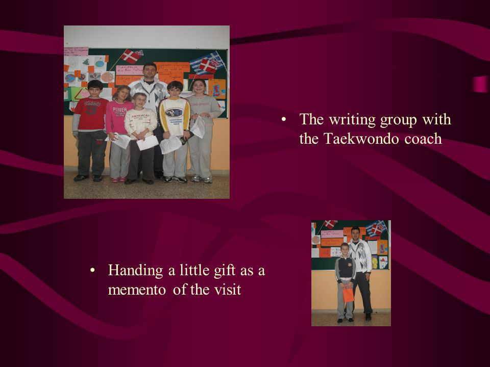 The writing group with the Taekwondo coach
