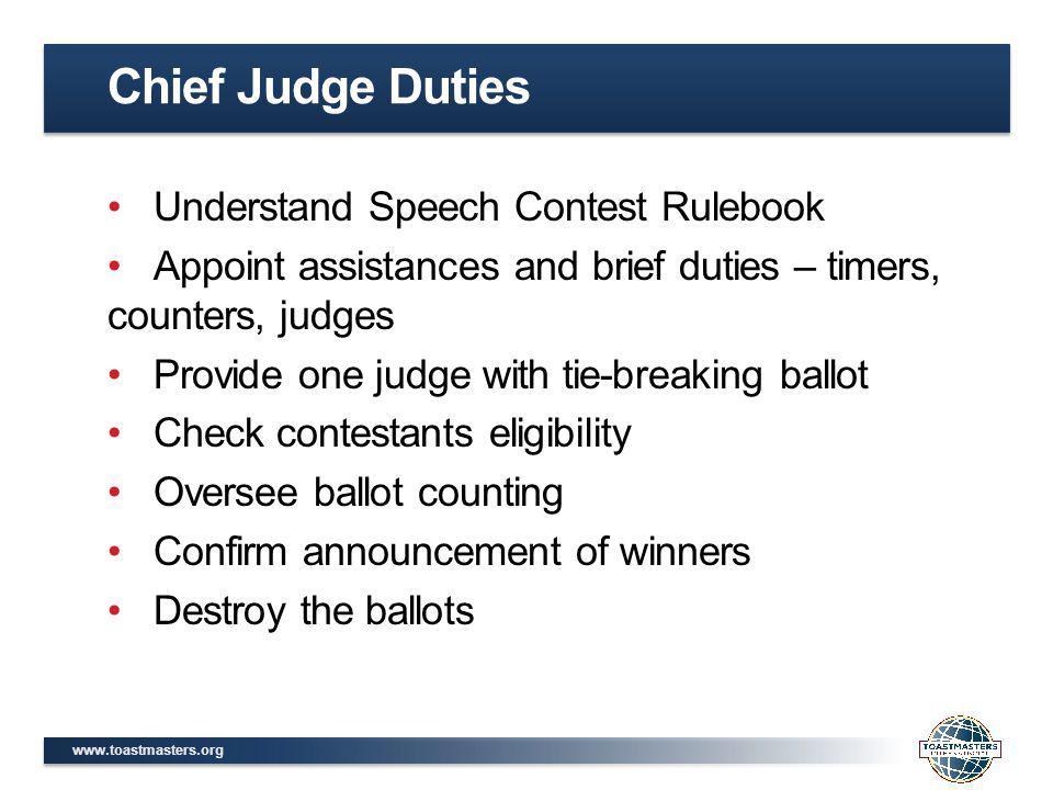 Chief Judge Duties Understand Speech Contest Rulebook