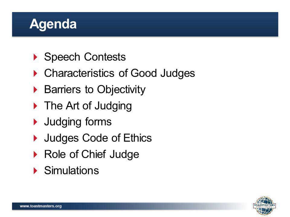 Agenda Speech Contests Characteristics of Good Judges