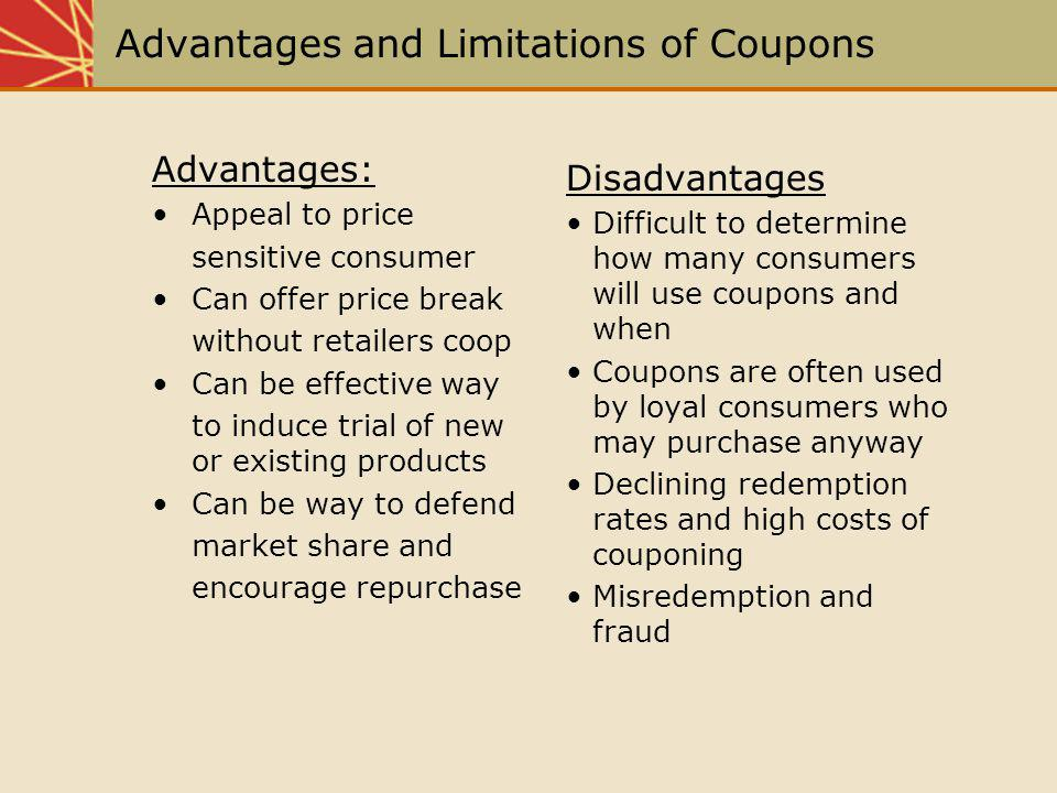 Advantages and Limitations of Coupons