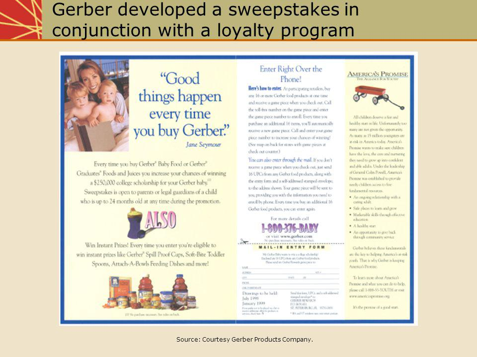 Gerber developed a sweepstakes in conjunction with a loyalty program