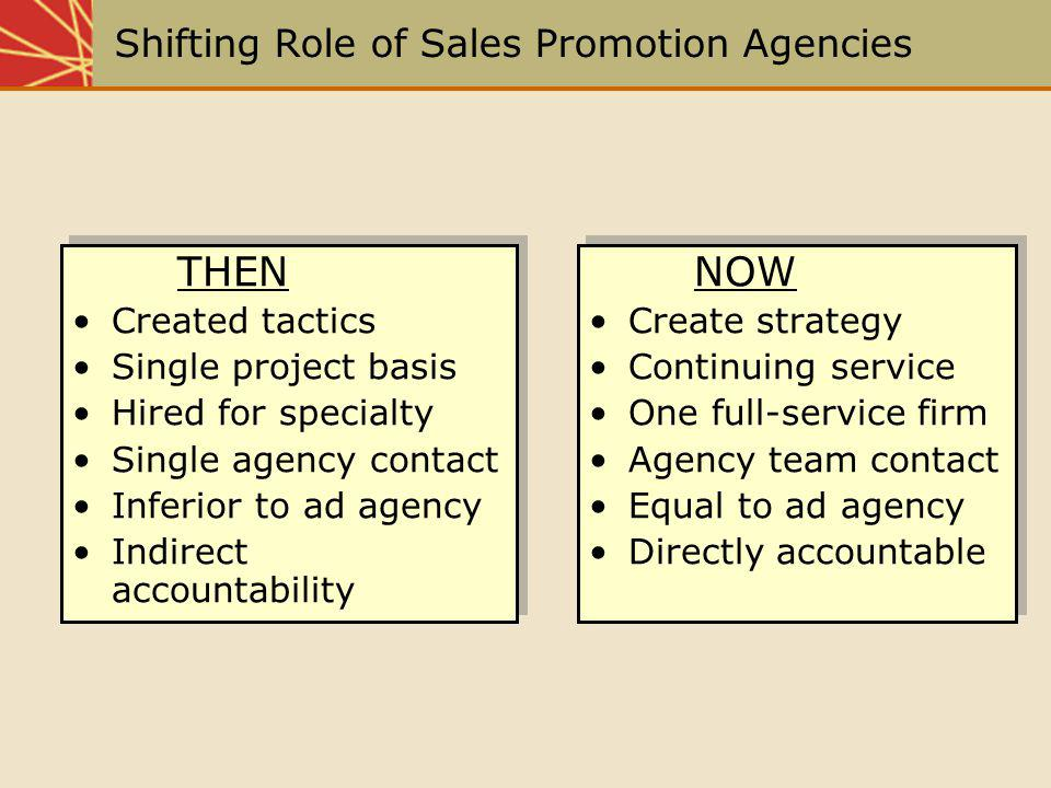 Shifting Role of Sales Promotion Agencies