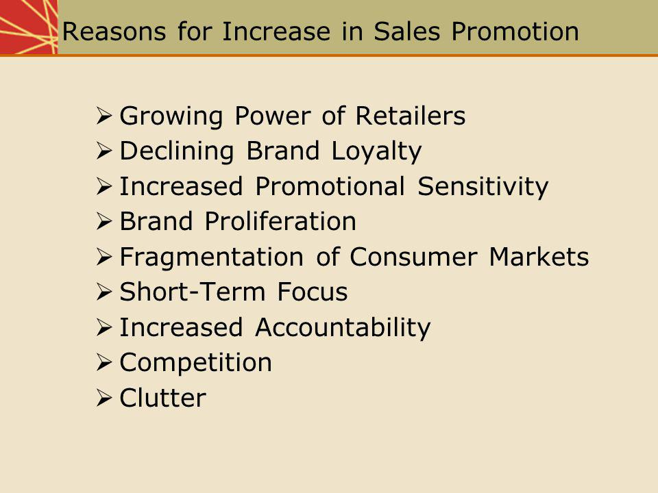 Reasons for Increase in Sales Promotion