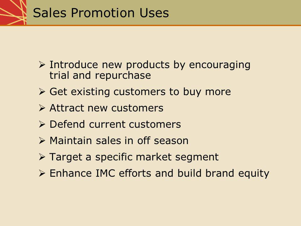 Sales Promotion Uses Introduce new products by encouraging trial and repurchase. Get existing customers to buy more.