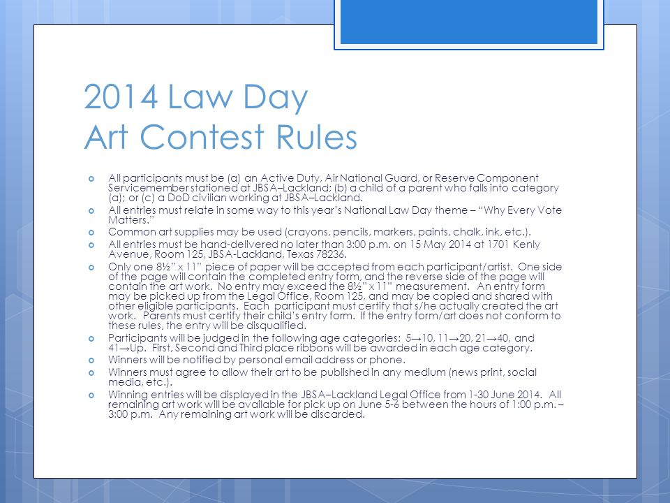 2014 Law Day Art Contest Rules