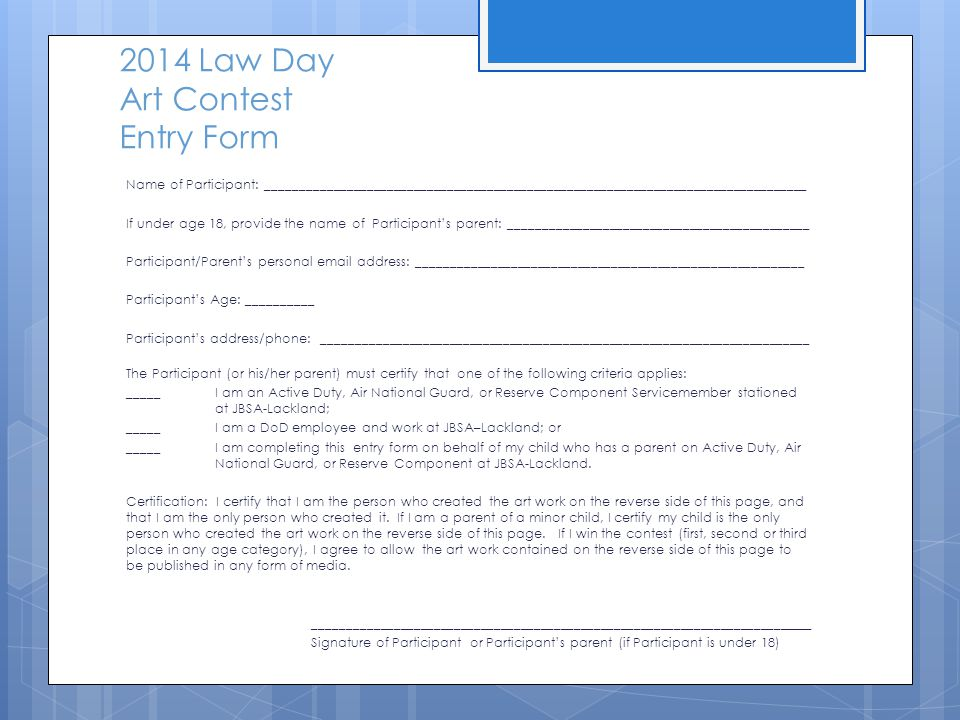 2014 Law Day Art Contest Entry Form