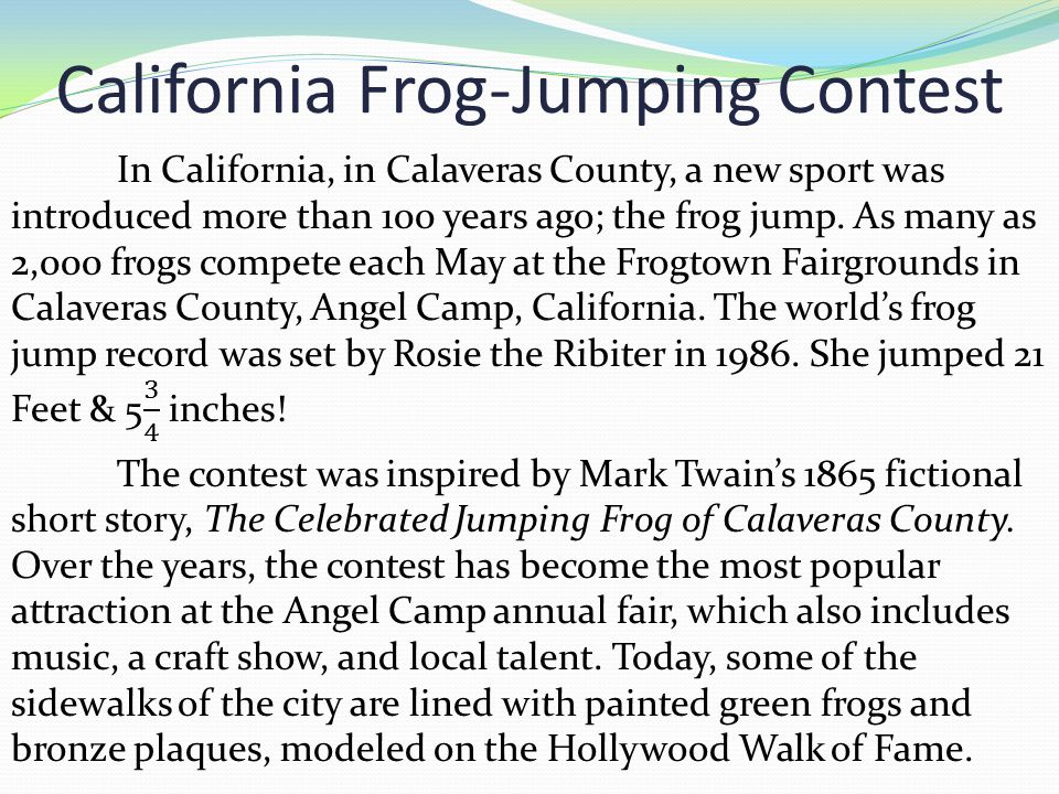 California Frog-Jumping Contest