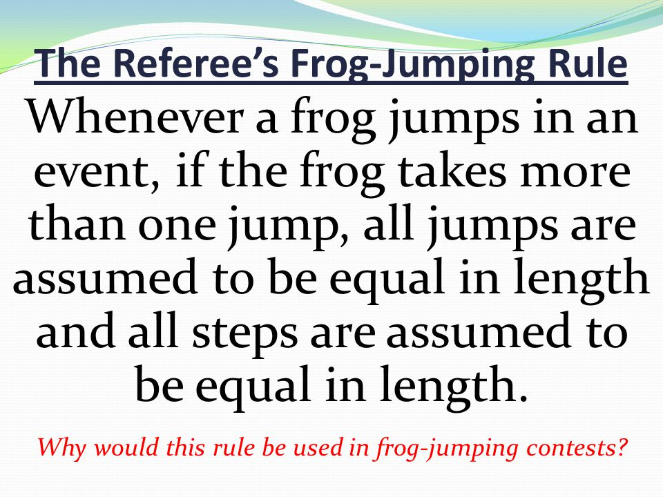 The Referee's Frog-Jumping Rule