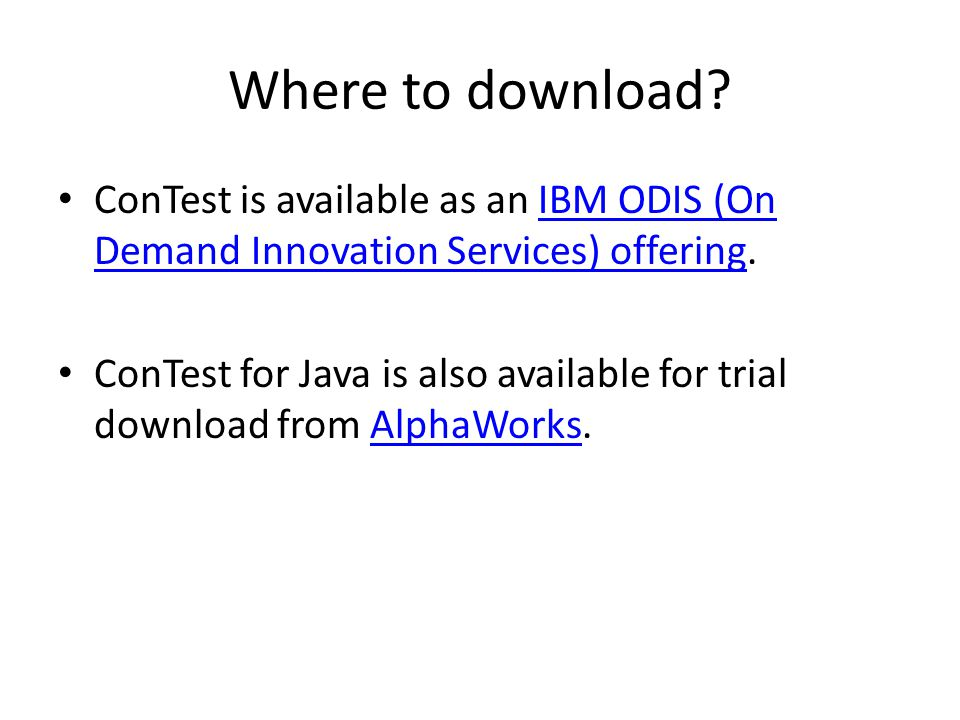 Where to download ConTest is available as an IBM ODIS (On Demand Innovation Services) offering.