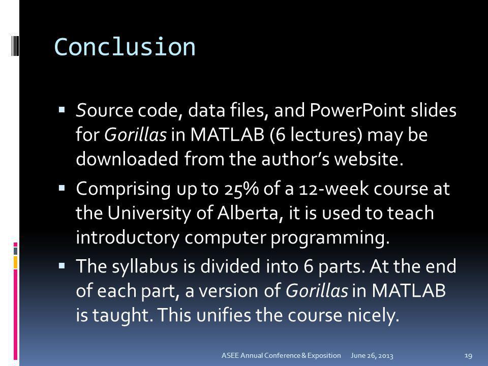 Conclusion Source code, data files, and PowerPoint slides for Gorillas in MATLAB (6 lectures) may be downloaded from the author's website.