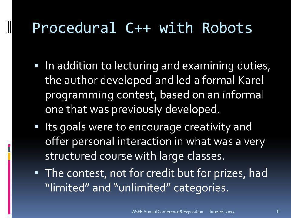 Procedural C++ with Robots