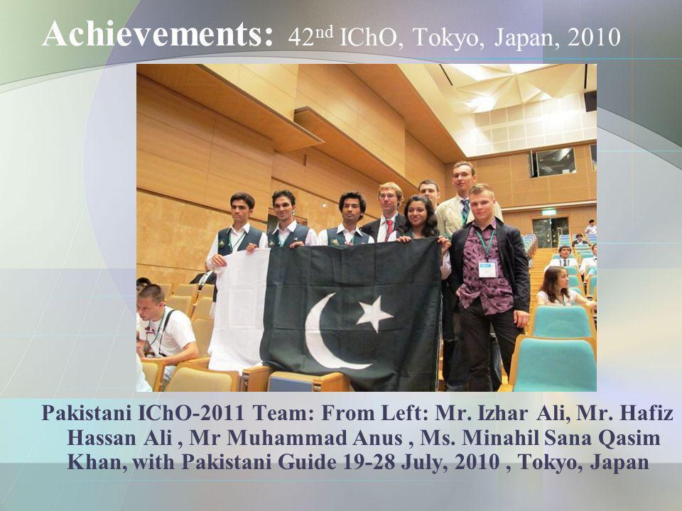 Achievements: 42nd IChO, Tokyo, Japan, 2010