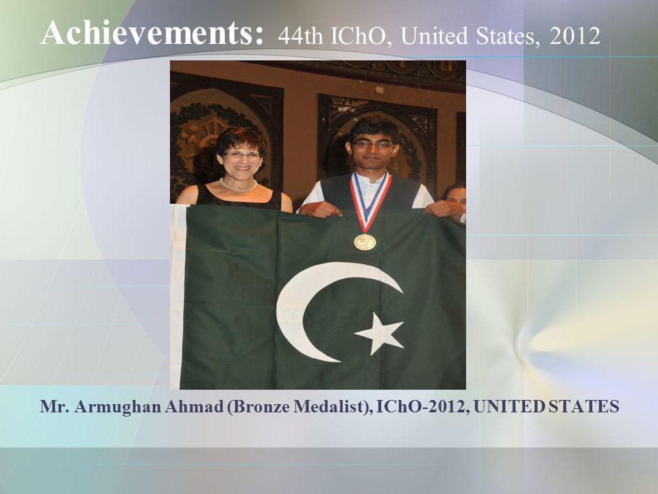 Achievements: 44th IChO, United States, 2012