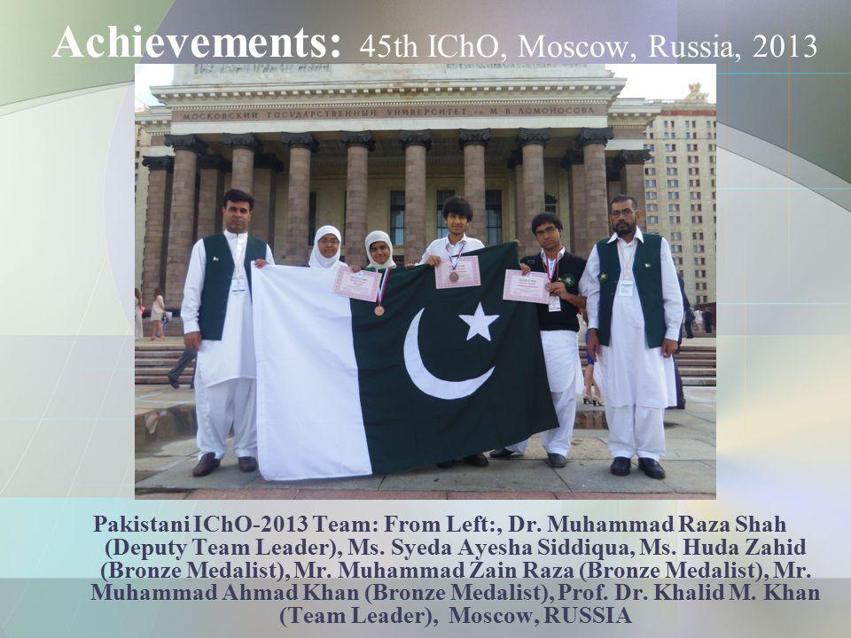 Achievements: 45th IChO, Moscow, Russia, 2013