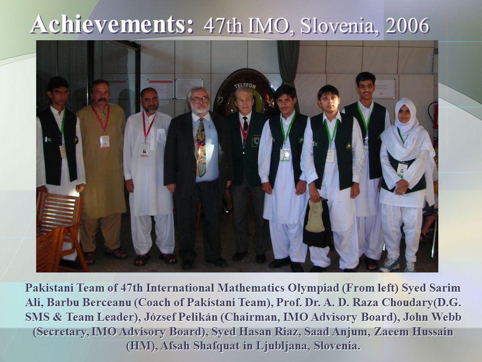 Achievements: 47th IMO, Slovenia, 2006