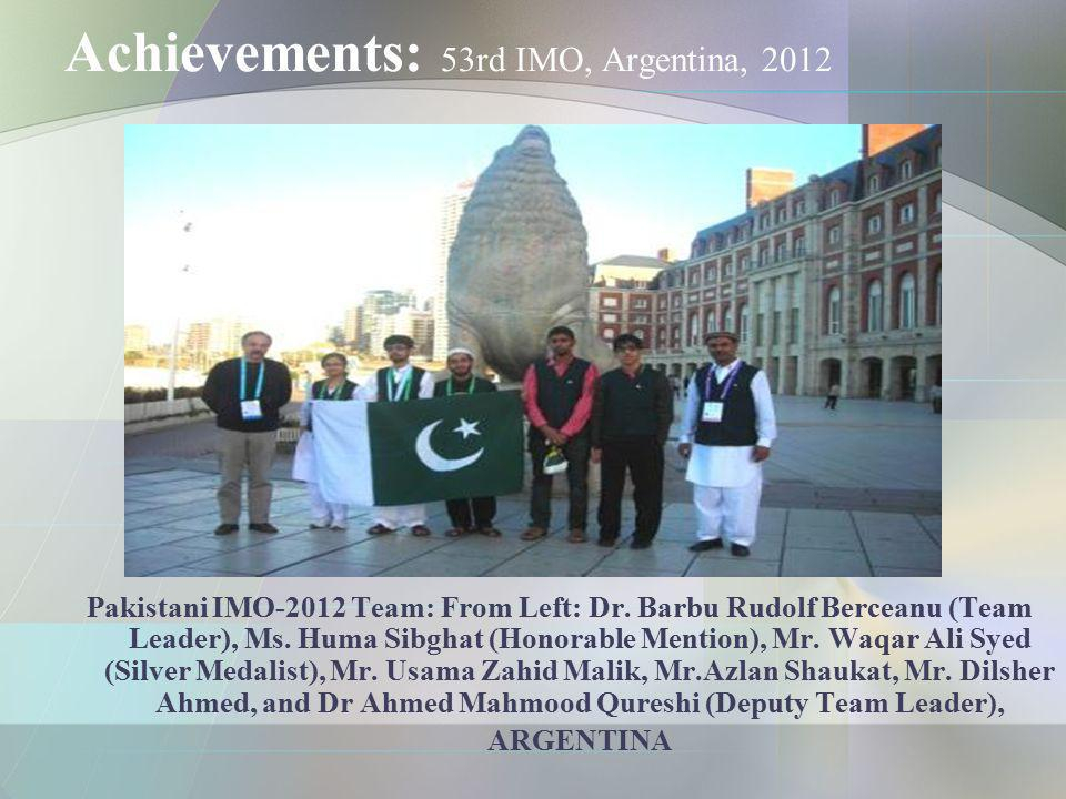 Achievements: 53rd IMO, Argentina, 2012