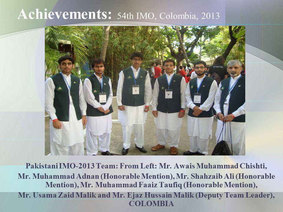 Achievements: 54th IMO, Colombia, 2013