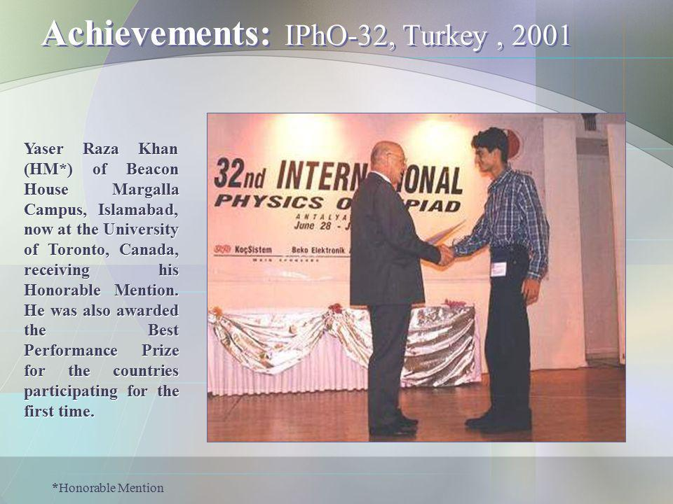 Achievements: IPhO-32, Turkey , 2001