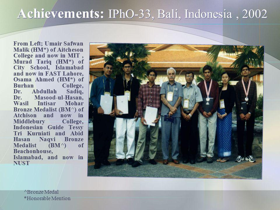 Achievements: IPhO-33, Bali, Indonesia , 2002