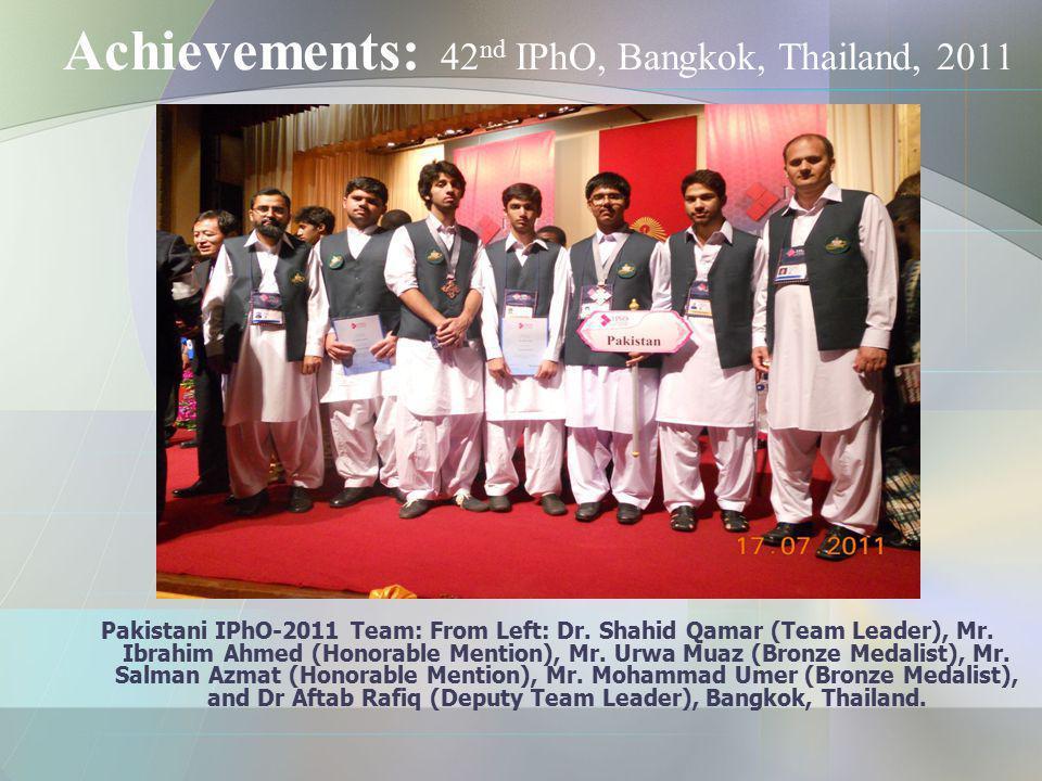 Achievements: 42nd IPhO, Bangkok, Thailand, 2011