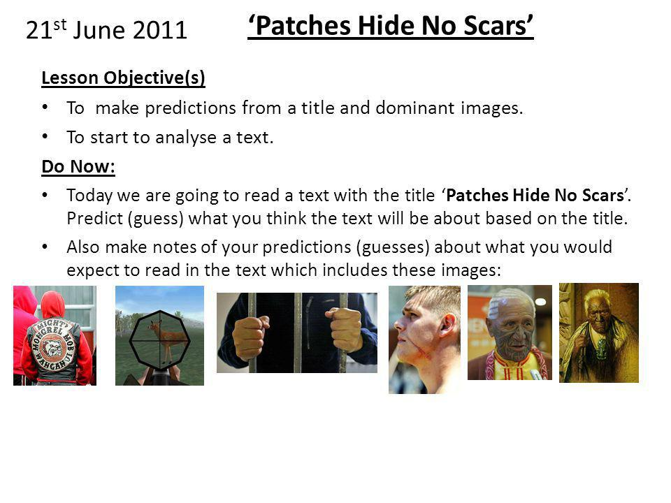 """patches hide no scars """"patches hide no scars"""" haare williams they bear patches  on their jackets hiding scars and wounds finding their own  direction, discipline orders how do we."""