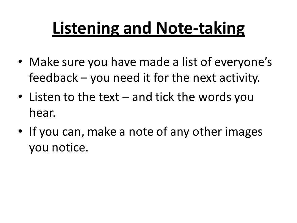 Listening and Note-taking