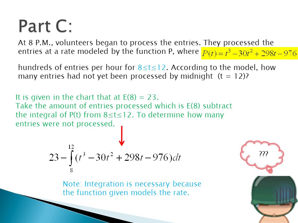 Part C: At 8 P.M., volunteers began to process the entries. They processed the entries at a rate modeled by the function P, where.