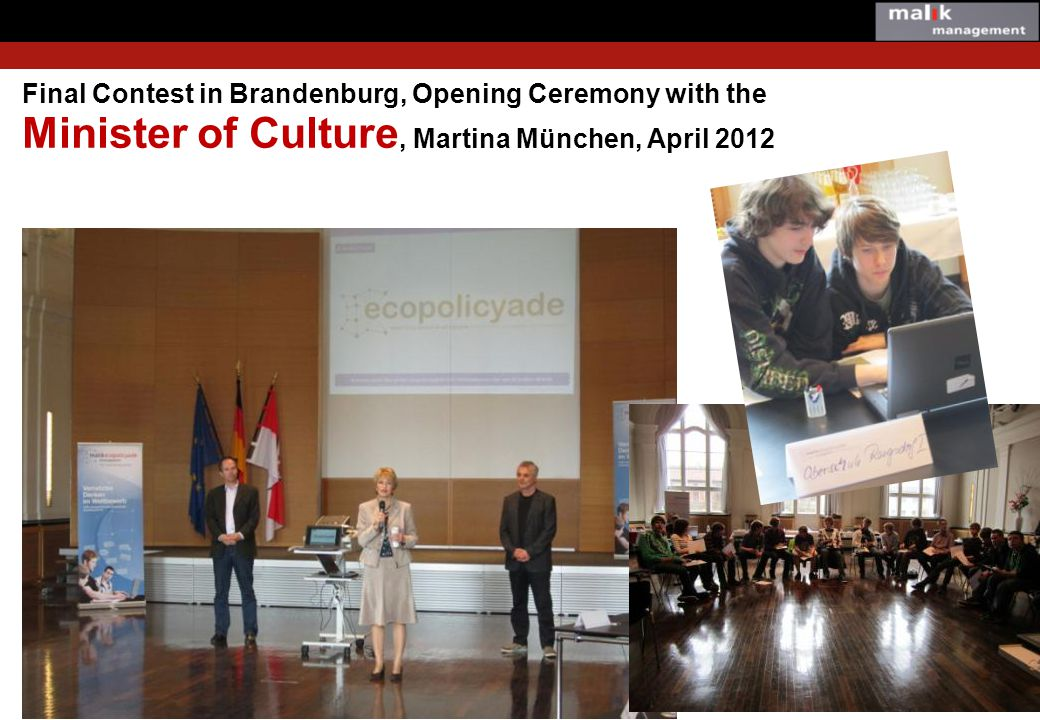 Final Contest in Brandenburg, Opening Ceremony with the Minister of Culture, Martina München, April 2012