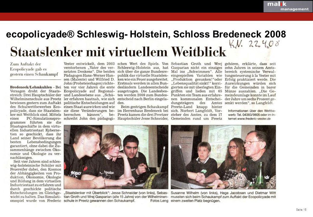 ecopolicyade® Schleswig- Holstein, Schloss Bredeneck 2008